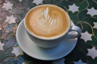 A latte with a fern-leaf motif in the milk