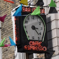 The famous Bar Italia Clock, hanging outside Bar Italia on Frith Street