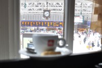 My espresso at Champagne Central, keeping an eye on the trains for me