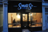 The exterior view of Small St Espresso on a rainy December day in Bristol