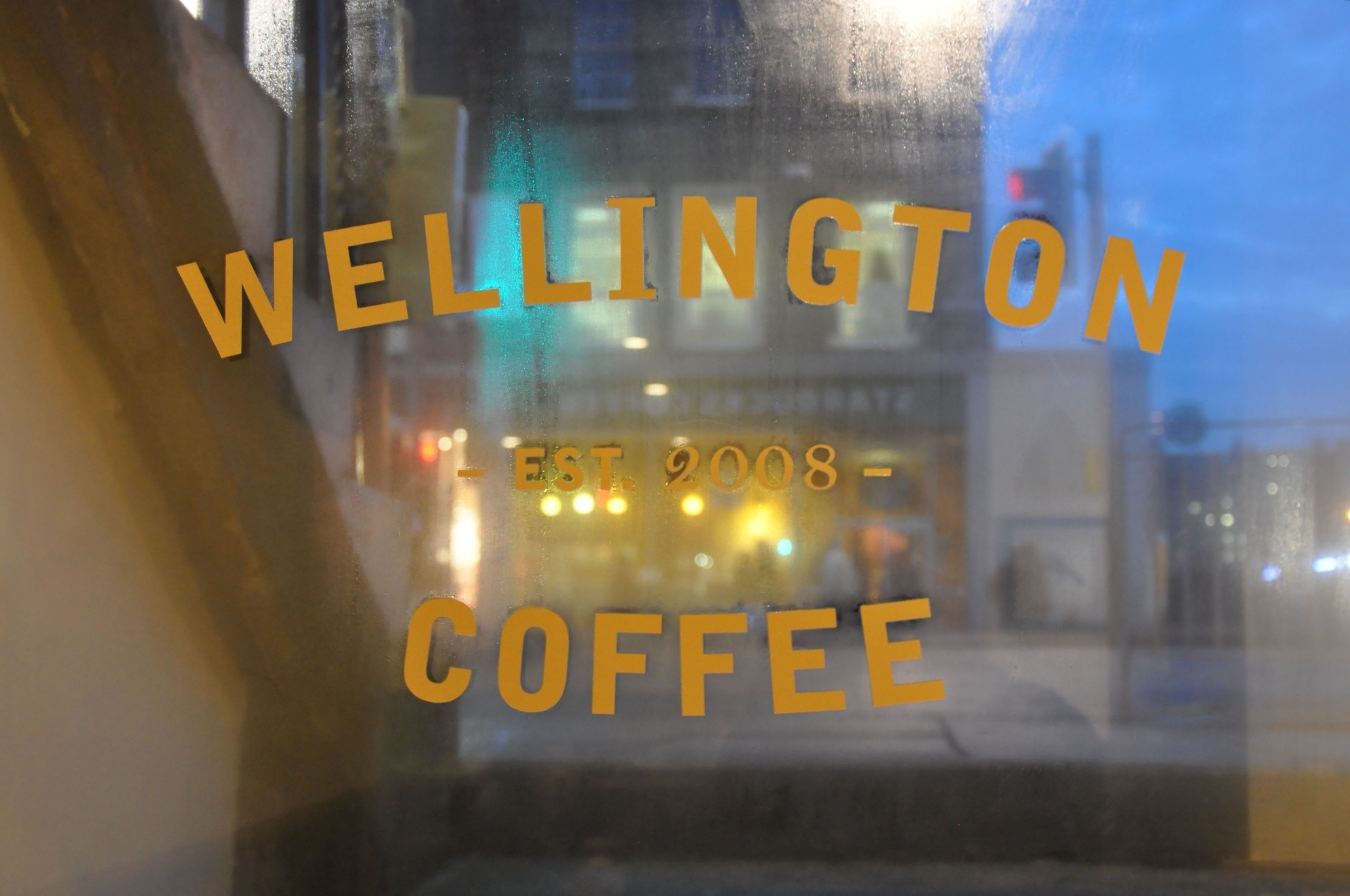 The view through the door of Wellington Coffee
