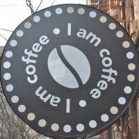 The I Am Coffee logo on St Mark's Place, New York City