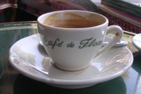 Classic Cafe de Flore cup, with green writing on white china, from 2009.