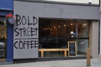 The exterior of Bold Street Coffee, proudly proclaiming itself, on Bold Street, Liverpool