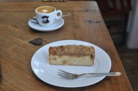 A very small coffee (recommended by Jess) and a slice of Apricot crumble (recommended by Vanessa) at The Fields Beneath