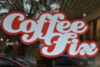 The Coffee Fix logo on the front window.