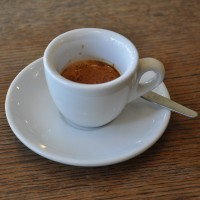 An exceptional Has Bean espresso in a classic white cup from the Shrewsbury Coffee House