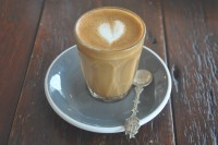 A delightful piccolo in a glass from Fred & Ginger Coffee
