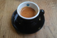 The perfect espresso, with beans from Ue Roasters, in a classic black cup from Zappi's Bike Cafe