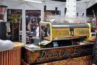 Doctor Espresso's fully restored and working Gaggia lever espresso machine at Caffe Culture 2014.