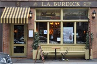 The store-front of L.A. Burdick on W20th Street, New York City