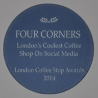 Four Corners Award Plaque from the 2014 London Coffee Stop Awards. Four Corners won the award for London's Coolest Coffee Shop on Social Media.