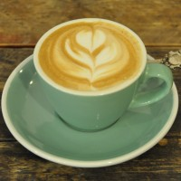 Some lovely latte-art in a classic, light green cup at Birmingham's Faculty