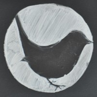 An outline image of a Wren, inside a white chalk circle, the symbol of the coffee shop, The Wren.
