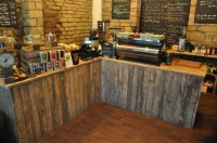 The counter at the Coffee Kabin, cakes to the left, coffee straight ahead.