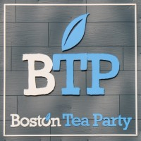 The letters BTP (with the B in white, TP in blue) over the words Boston Tea Party (Boston in white, Tea Party in blue)