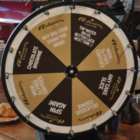 An eight segment wheel with various rewards such as free coffee, cake or any item from the menu.