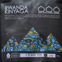 The front cover of a bag of Rwanda Kinyaga Coffee from Small Batch.