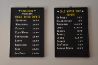 The coffee menu at Finisterre. Next to the cold water surf report!