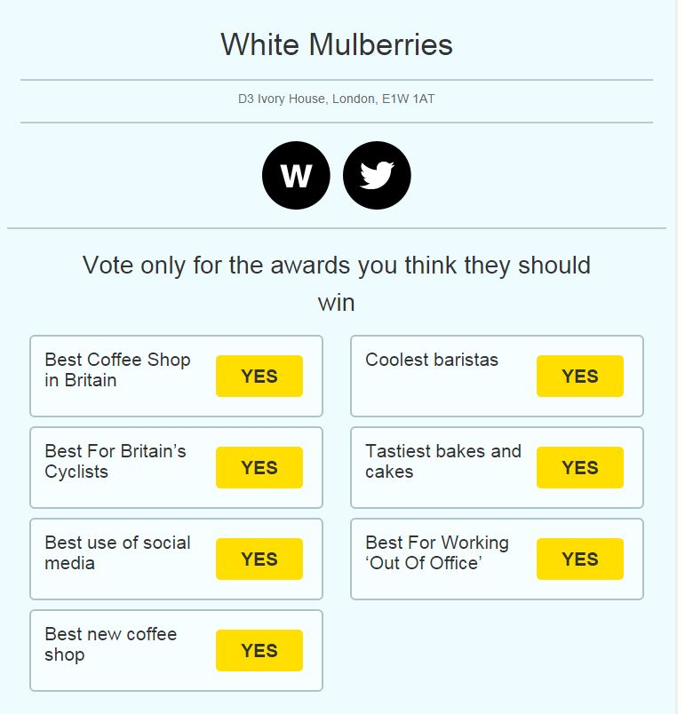 Once you've selected your coffee shop, you'll see all the Coffee Stops Awards it has been entered for.