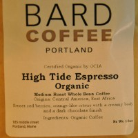 The label on a bag of Bard Coffee's High Tide Espresso blend: medium roast, a blend of Central America and East Africa coffees, tasting notes of sweet red berries, orange-like citrus with a creamy body and a dark chocolate finish.