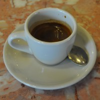 A classic, Italian espresso in a classic white cup at Anthony's Italian Coffee House, Philadelphia