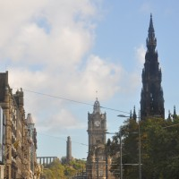 Princes Street, Edinburgh, looking east towards Carlton Hill from the top of the No 29 bus.