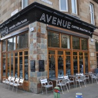 Avenue Coffee on the corner of Glasgow's Great Western Avenue and Barrington Drive.