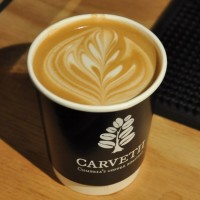A lovely flat white in one of Carvetii's cups, showcasing Carvetii's latest seasonal espresso blend at Cup North.
