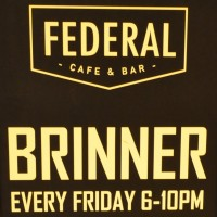 "Detail from the A-board at Federal Cafe & Bar, proudly proclaiming the serving of ""Brinner"" of Friday evenings."