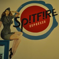 The Spitfire Espresso logo, as painted on the wall of the shop in Candleriggs.
