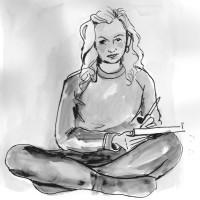 "A self-portrait by the talented Cherie Jerrard, entitled ""Me - Crosslegged"""
