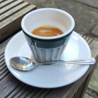 An espresso at London's Expresso Base, in an interesting, ribbed, handleless cup