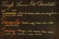 The single-source chocolate options at L.A. Burdick in Harvard, chalked up on a board, complete with tasting notes.