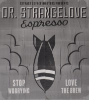 "A large, black bomb drops vertically down the centre of the poster with the words ""Stop Worrying, Love The Brew"" at the bottom."