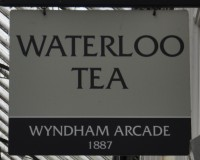 The Waterloo Tea sign, hanging outside Wyndham Tea, Waterloo Tea's branch in Cardiff's Wyndham Arcade.