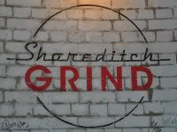 The Shoreditch Grind logo, written on the wall of Shoreditch Grind.
