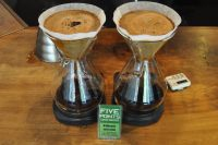 Five Points prepares two Chemex at a time rather than using a bulk-brewer. The coffee is either served immediately or kept warm in flasks.