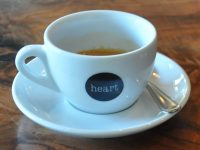 An espresso in a classic white mug at Heart Coffee Roasters, Burnside in Portland.