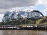 The Sage Centre in Gateshead, on the south bank of the Tyne, as seen from Newcastle, on the north bank.
