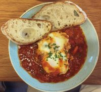 Brunch at Beany Green (Liverpool Street) - Shakshouka (Baked Eggs) and Sour Dough Toast