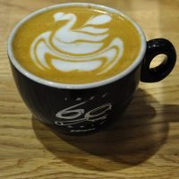 A beautiful flat white, with latte art by Dhan Tamang, the reigning UK Latte Art Champion, made at the World of Coffee 2016 using the Conti Espresso 60th Anniversary espresso machine.