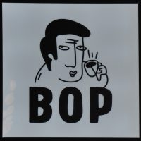 "A black-and-white cartoon of a man's head, holding a coffee cup to his ear, as if he is listening to it. This appears above the letters ""BOP""."