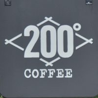 "The number 200° in a diamond outline over the word ""COFFEE"""