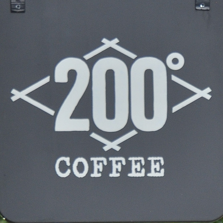 """The number 200⁰ in a diamond outline over the word """"COFFEE"""""""