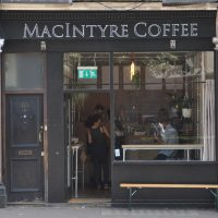 The store front of MacIntyre Coffee on St John's Road, London.