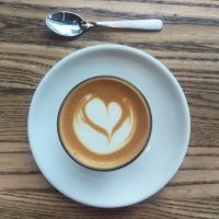 My cortado, seen from above, at Coffee Collective, Torvehallerne, in Copenhagen.