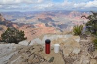 My Therma Cup reusable cup and my Travel Press enjoy the view at the southern rim of the Grand Canyon.