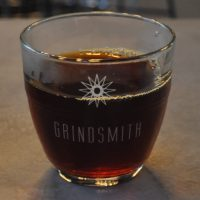 A beautiful Grindsmith glass, with a Nicaraguan single-origin filter coffee from North Star, served at Grindsmith Media City.