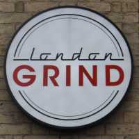 The London Grind logo, taken from the wall outside.